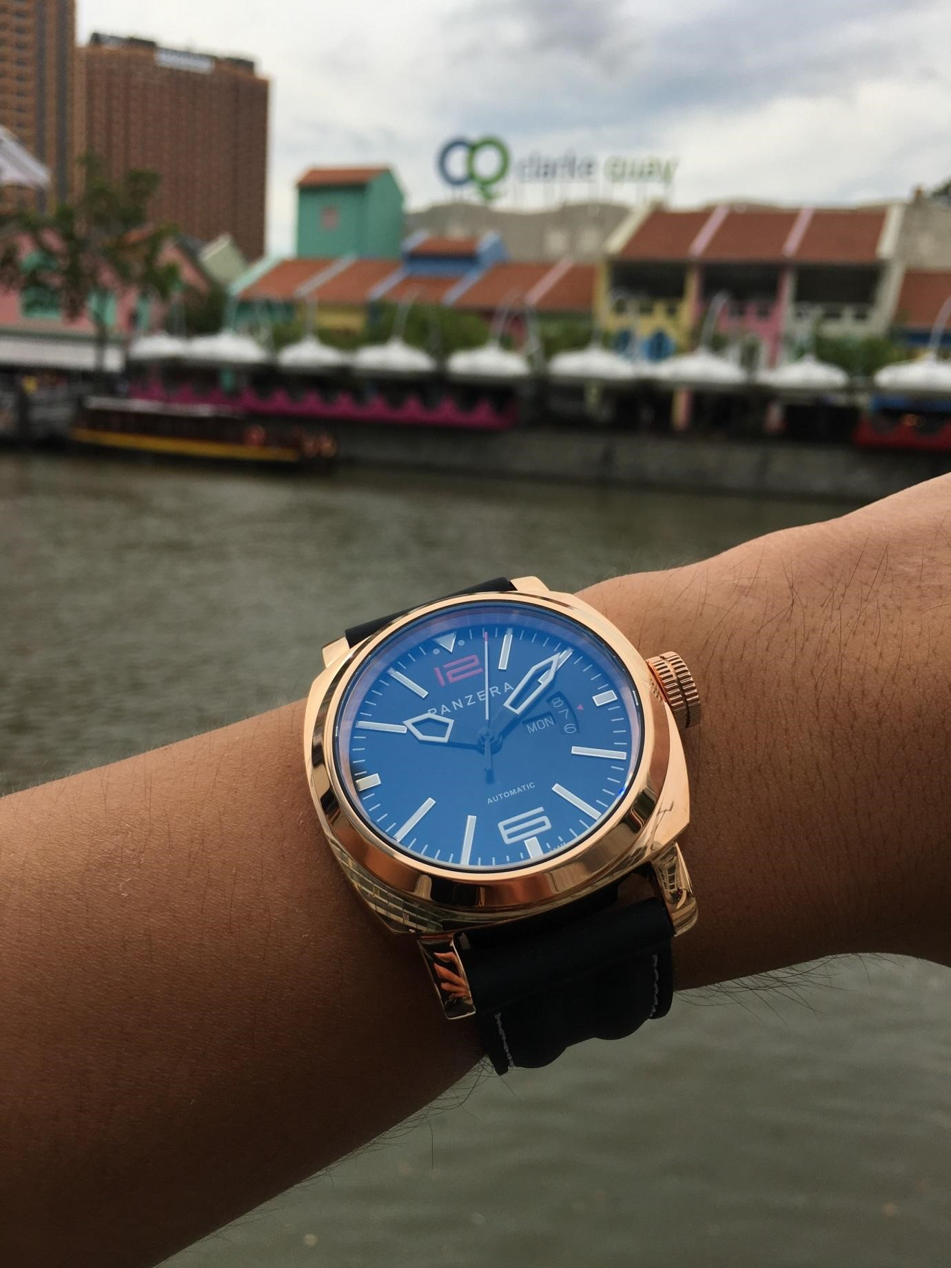 The High Polished IP Rose Gold Aquamarine A45-03R with Italian Rubber on the wrist.