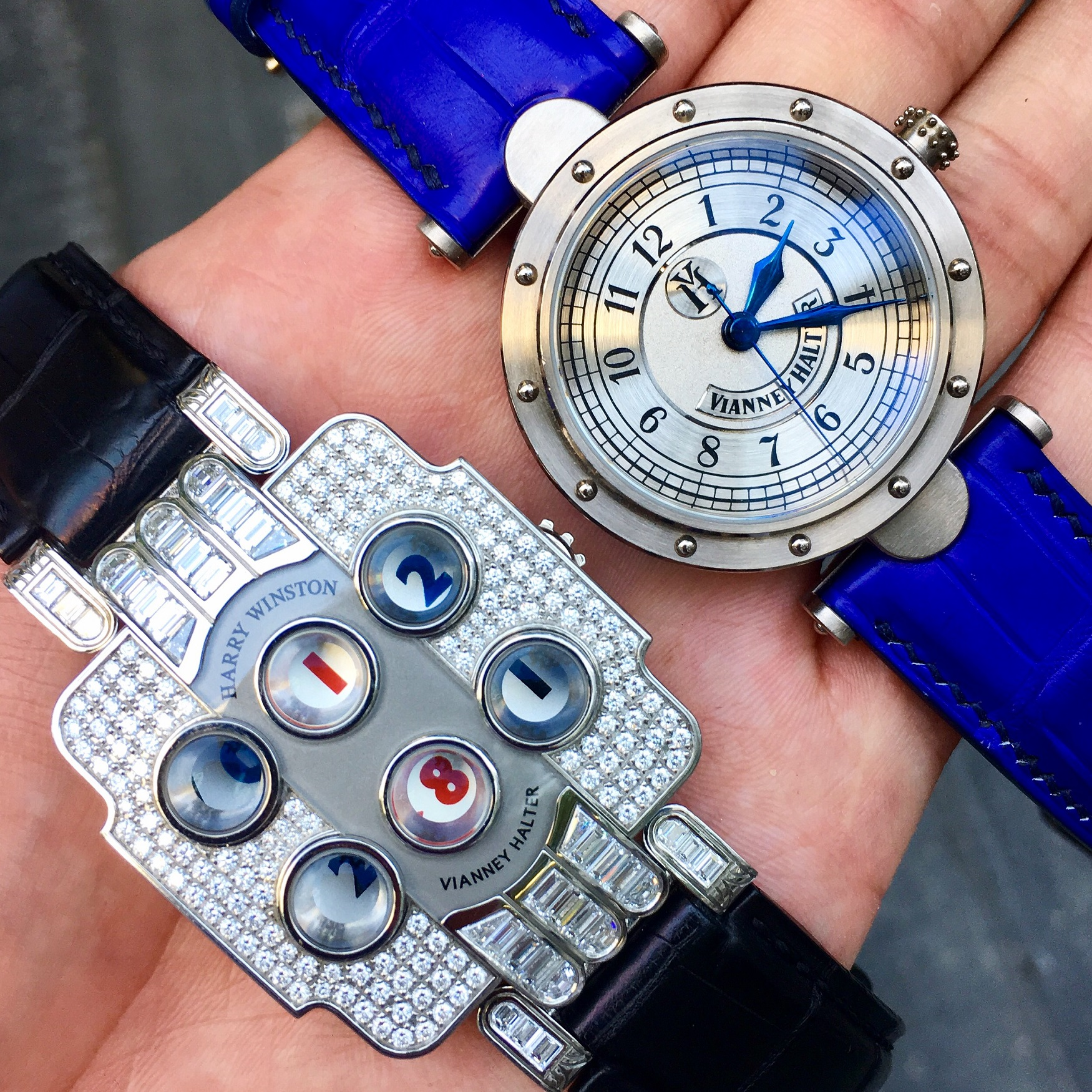 Dual Vianney Halter creation. Photo courtesy of Tom Chng @SingaporeWatchClub).