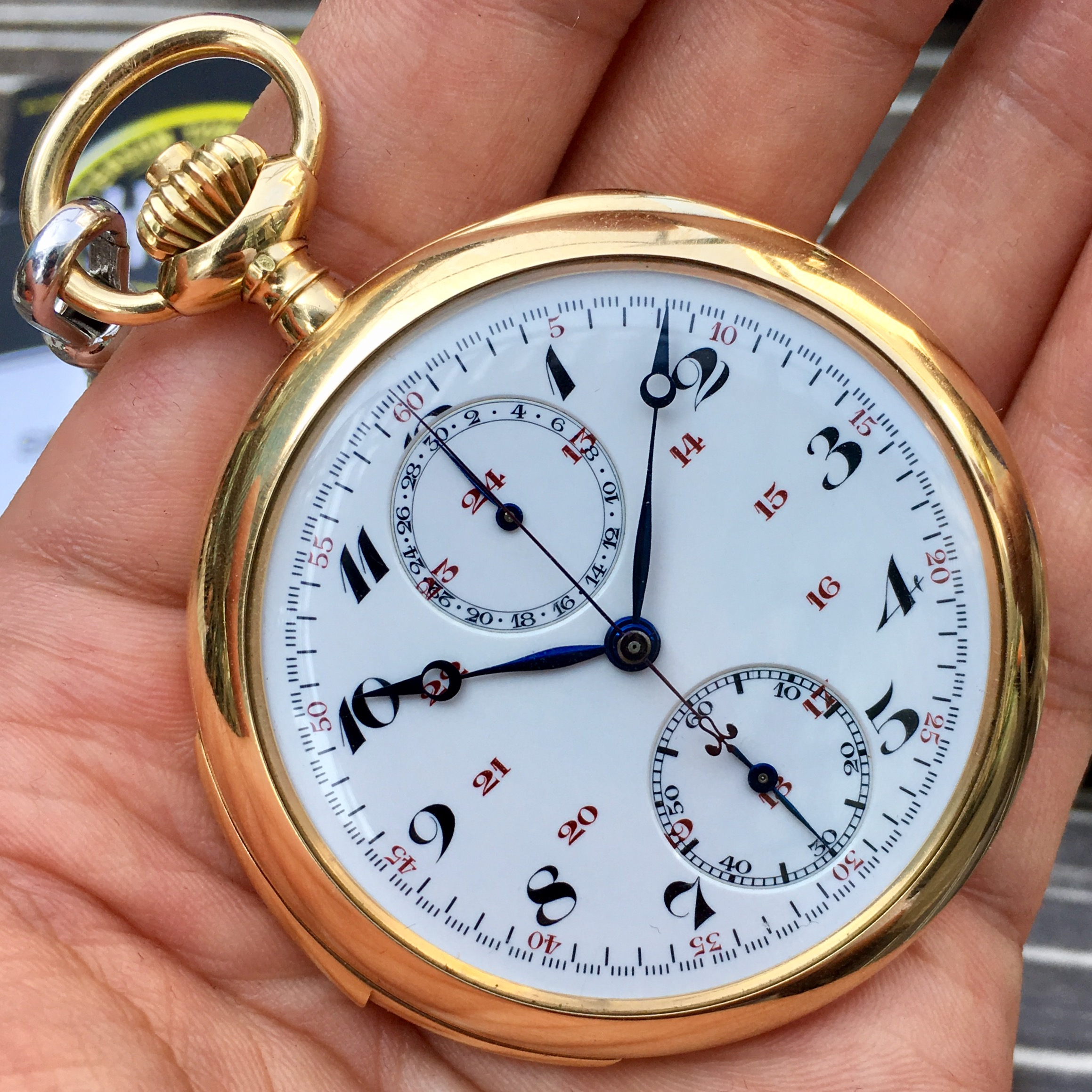 Mr. Dufour's precious pocket watch from the 1930s: A minute repeater monopusher chronograph.